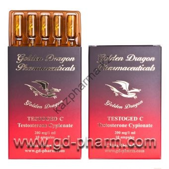 Тестостерон ципионат (Testoged-C) Golden Dragon 10 ампул по 1мл (1амп 250 мг) - Шымкент